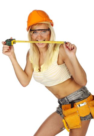 female construction worker:  Sexy blonde female construction worker