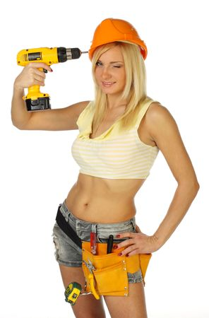 Sexy blonde female construction worker Stock Photo - 6628515