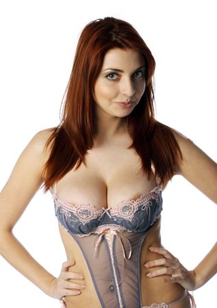 breasts erotic: The beautiful girl with big breast Stock Photo
