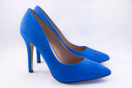 high heel shoes: Pair of Blue High Heel Shoes on White Background