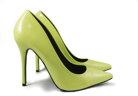 no heels: Pair of Lime Green High Heel Shoes on White Background