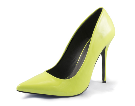no heels: Lime Green High Heel Shoe on White Background Stock Photo