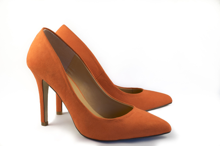 no heels: Pair of Orange High Heel Shoes on White Background