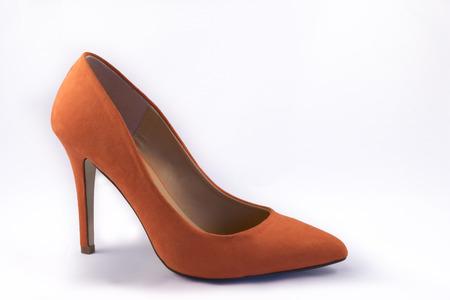 no heels: Orange High Heel Shoe on White Background