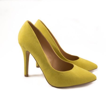 no heels: Pair of Yellow High Heel Shoes on White Background