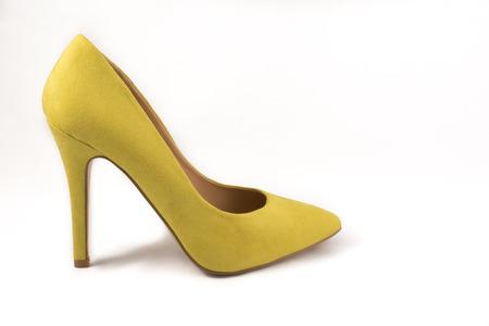 no heels: Yellow High Heel Shoe on White Background