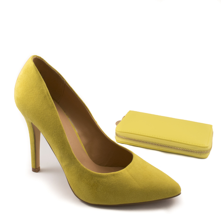 no heels: Yellow High Heel Shoe and Yellow Purse on White Background
