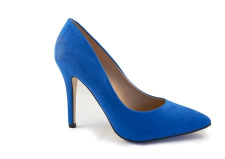 no heels: Blue High Heel Shoe on White Background