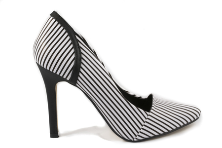 no heels: Pinstripes High Heel Shoe on White Background Stock Photo
