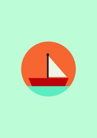 Mini Boat On The Ocean Illustration Poster.