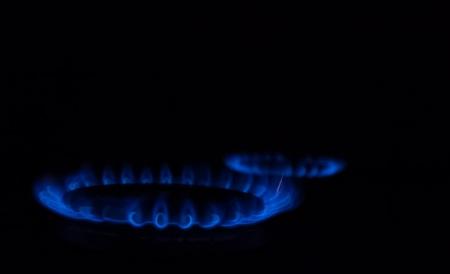 Burning gas burner on a black background Stock Photo