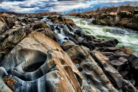Textured Rocks on the Potomac - Great Falls Park, Virginia Stock Photo - 18428089