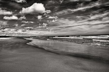 바다, 공기, 그리고 토지 흑백의 대비 스톡 콘텐츠
