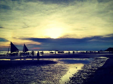 phillipine: Silhouette in the sunset at Boracay, Phillipine