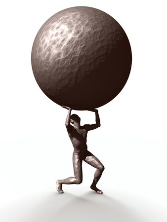 heavy lifting: A statue carrying the weight of the world.