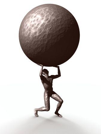 laden: Eine Statue, die das Gewicht der Welt.  Lizenzfreie Bilder