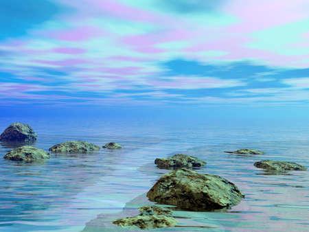 Illustration: sea, sky and stones Stock Photo