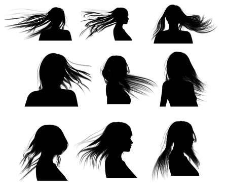 secador de pelo: Mujer de pelo de silueta