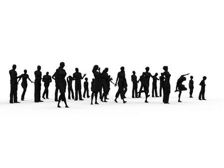 Silhouette: woman, man, children in various position