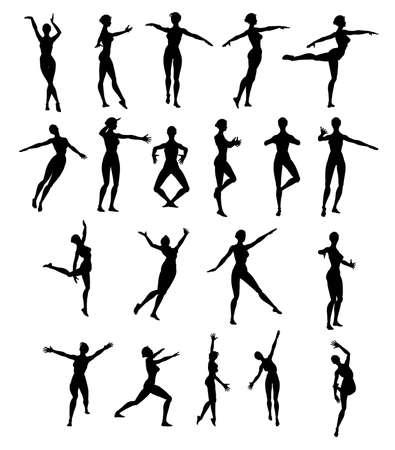 Stock Photo: Silhouette woman dancing Stock Photo