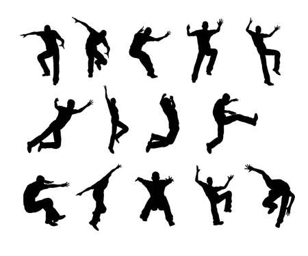 Silhouette Jumping  Stock Photo