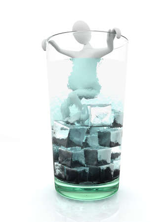 Man in glass full of ice Stock Photo - 9836845