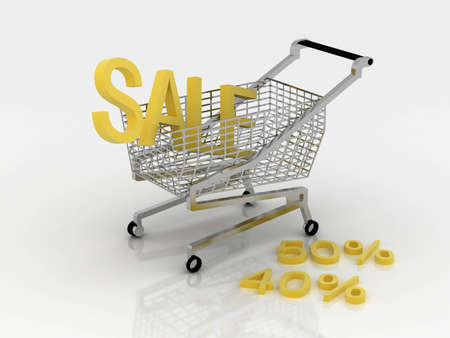 Cart for the shopping in sales Stock Photo