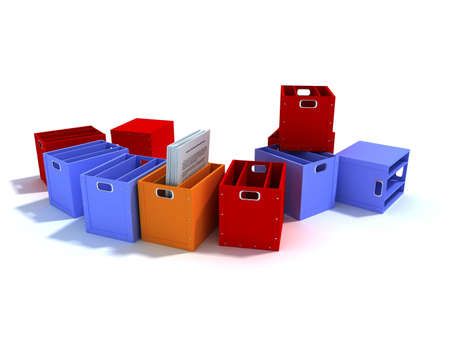Colored boxes for the office  Stock Photo