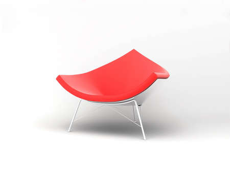 designer chair: Furniture: armchair in red lather