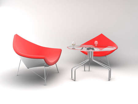 designer chair: Furniture: armchairs and table Stock Photo