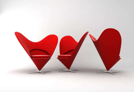 red chair: Furniture: three armchairs in red velvet