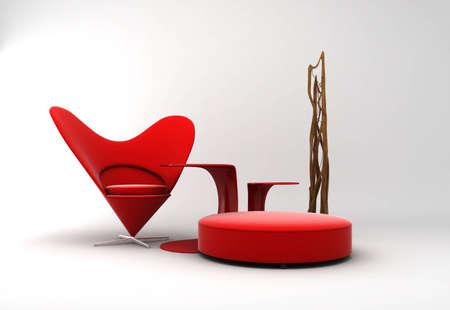 Furniture: a red modern interior
