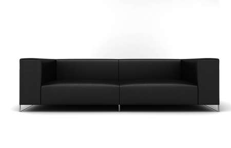 Furniture: black lather sofa