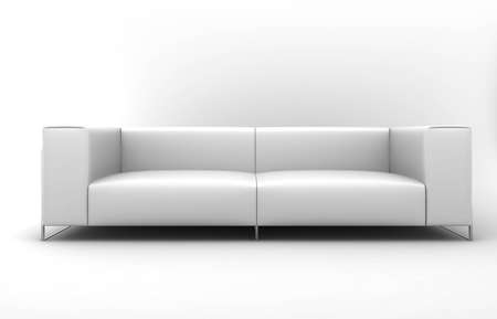 Furniture: white lather sofa
