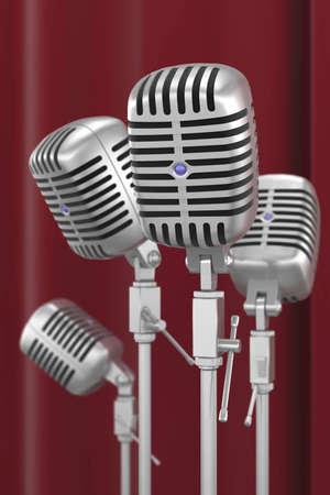 vintage microphones whit velvet background
