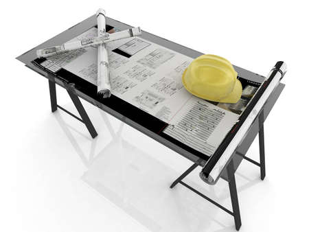 Desk whit blueprints