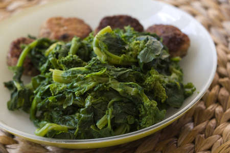 Meatballs and broccoli Stock Photo