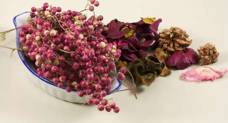 Pepper and dried flowers  Stock Photo