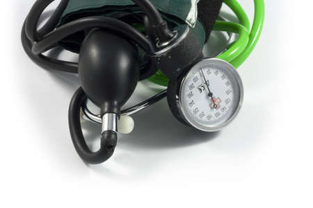 Medical sphygmomanometer on a white background  photo
