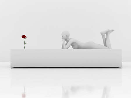 mannequin and a red rose