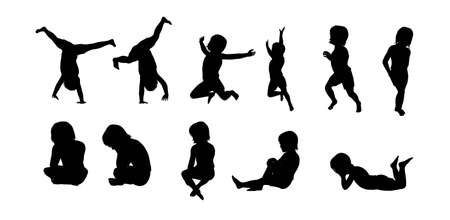 Silhouette Children Stock Photo