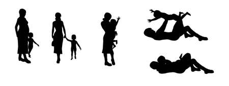 Silhouette mom and son Stock Photo