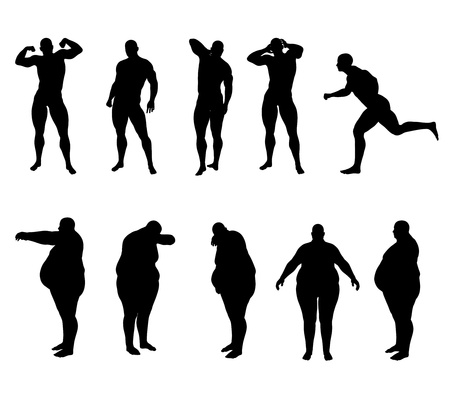 obese person: Silhouette bodybuilder and obese
