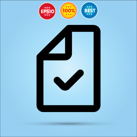 check mark sign: Document with Check mark sign flat icon.
