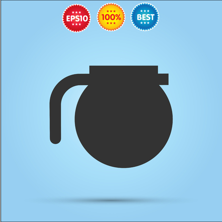 five o'clock: Teapot vector icon isolated on blue background