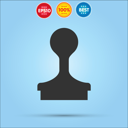 qualify: Stamp icon vector isolated on blue background