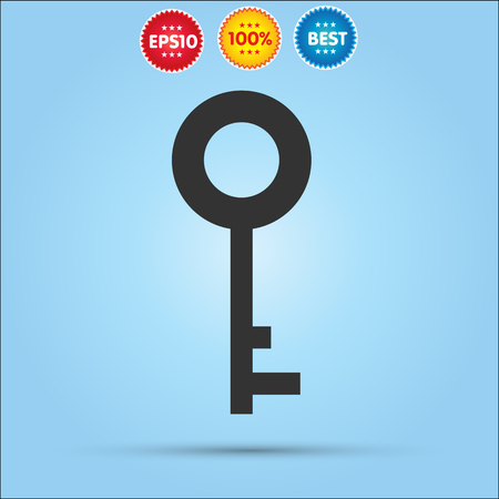 10 key: Key Icon, Key icon flat isolated on blue background