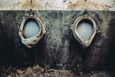 An old abandoned toilet Stock Photo