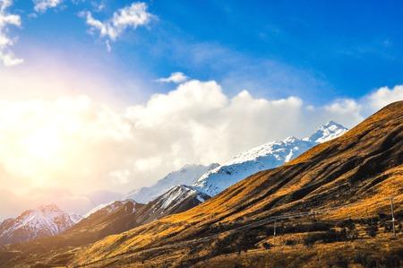 canterbury: Snow Mountain Birch Hill, Canterbury, New Zealand Stock Photo