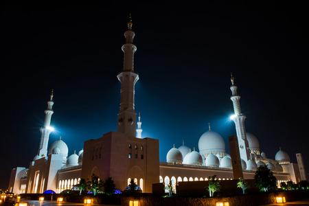 zayed: Sheikh Zayed Mosque at night Stock Photo